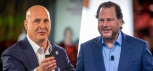 In pic: Salesforce co-CEOs Keith Block (left) and Marc Benioff. IMAGE COURTESY: SALESFORCE